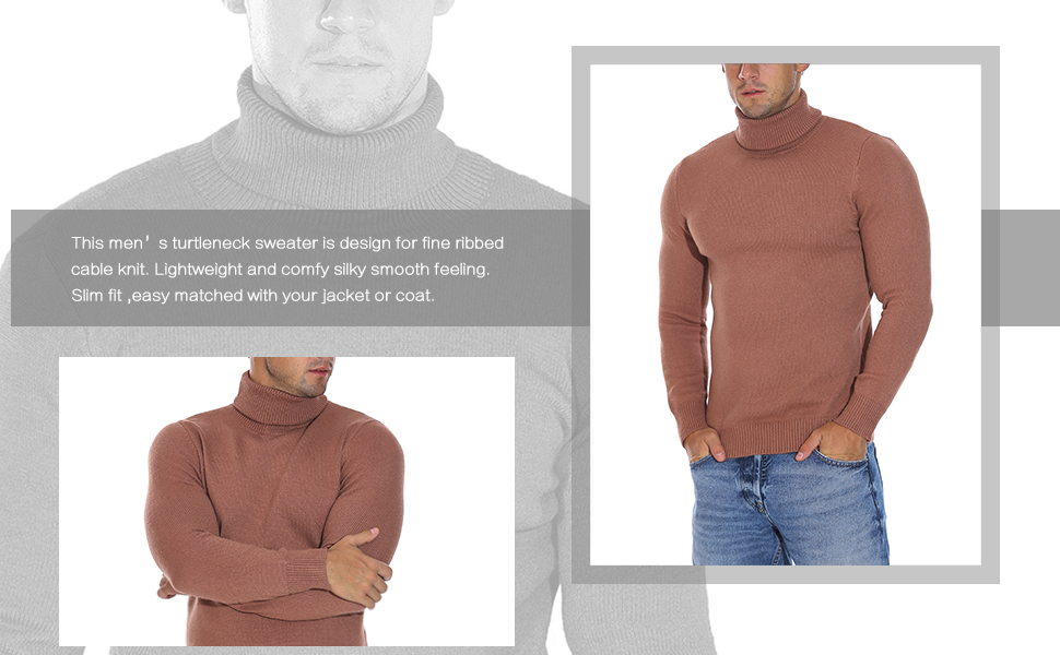 Rocorose Men's Long Sleeve Essential Turtleneck Sweater Pullover