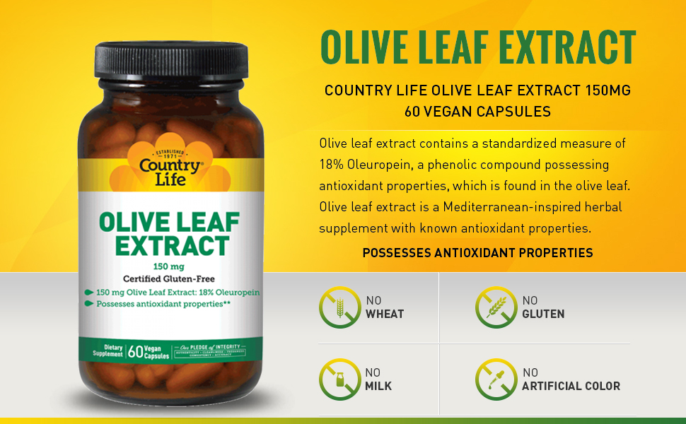 Country Life Olive Leaf Extract, 150 mg - 60 Vegan Capsules