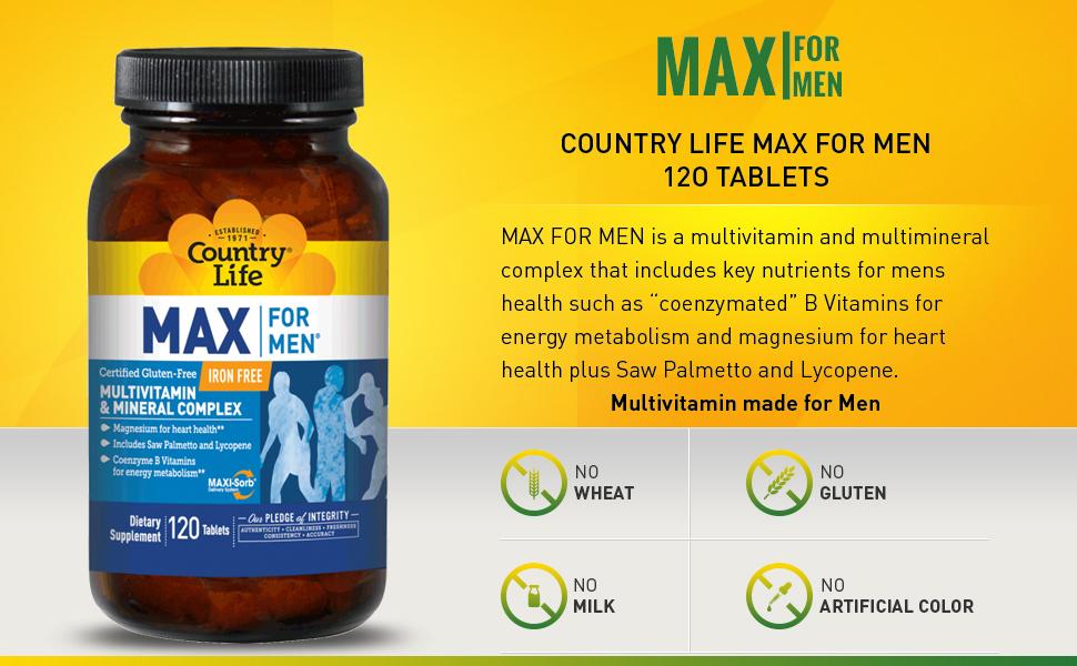 Amazon.com: País vida Max para Hombres (Veg Cáps), 120-count ...