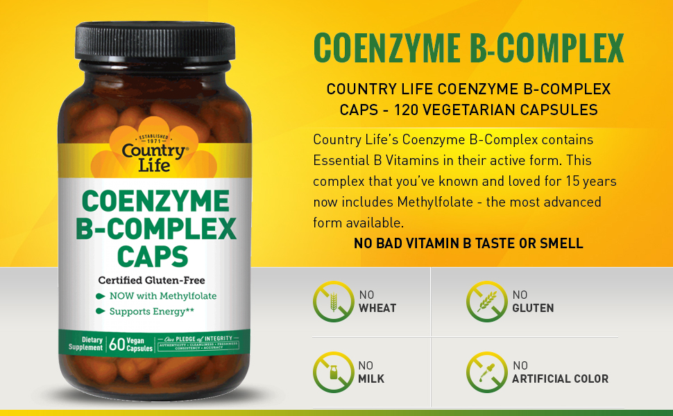 Country Life - Coenzyme B-Complex with Methylfolate - 60 Vegetarian Capsules