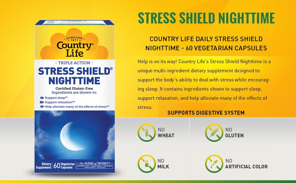 Amazon.com: País vida Vitaminas Shield de estrés, Noche, 60 ...