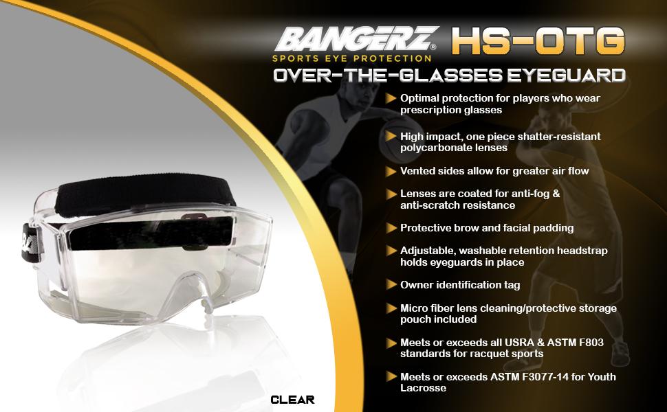 bangerz otg over the glasses sports protection goggles eyewear lacrosse field hockey anti fog