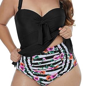 9510292f25 FUSENFENG Womens Plus Size Two Piece Ruffle Peplum Tankini Bathing ...