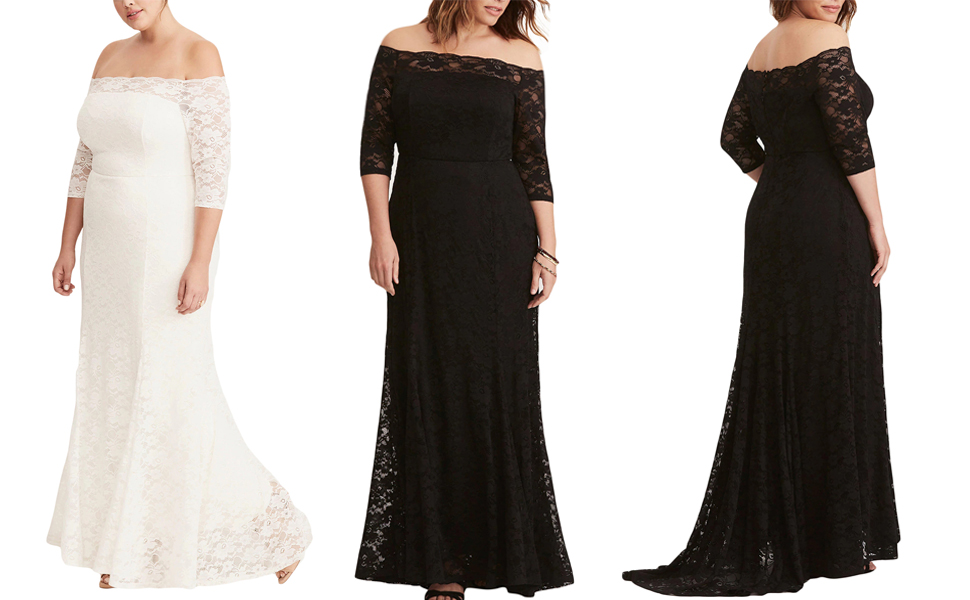 f5b08c68ea9 FUSENFENG Womens Plus Size Lace Off Shoulder Wedding Evening Party Maxi  Dress Gown Size Chart (Inch)