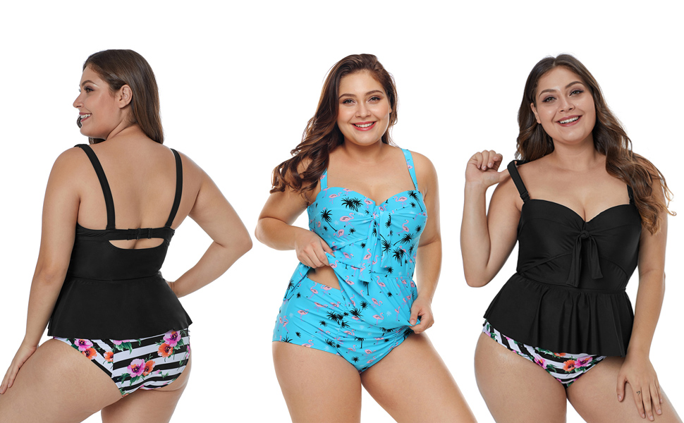 f509d520f6 FUSENFENG Womens Plus Size Two Piece Ruffle Peplum Tankini Bathing Suit  Swimwear