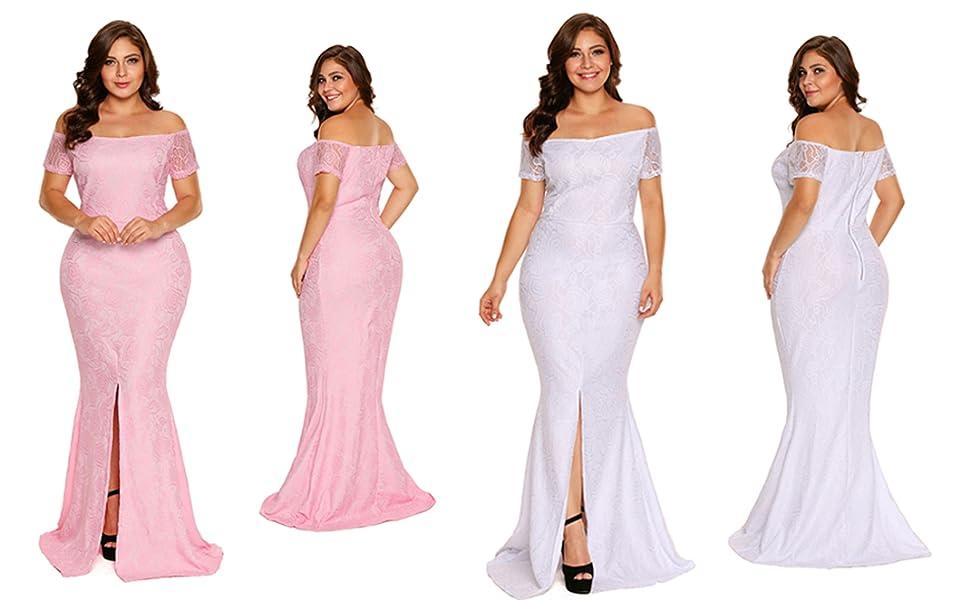 FUSENFENG Women\'s Plus Size Evening Gowns Lace Off Shoulder Wedding ...
