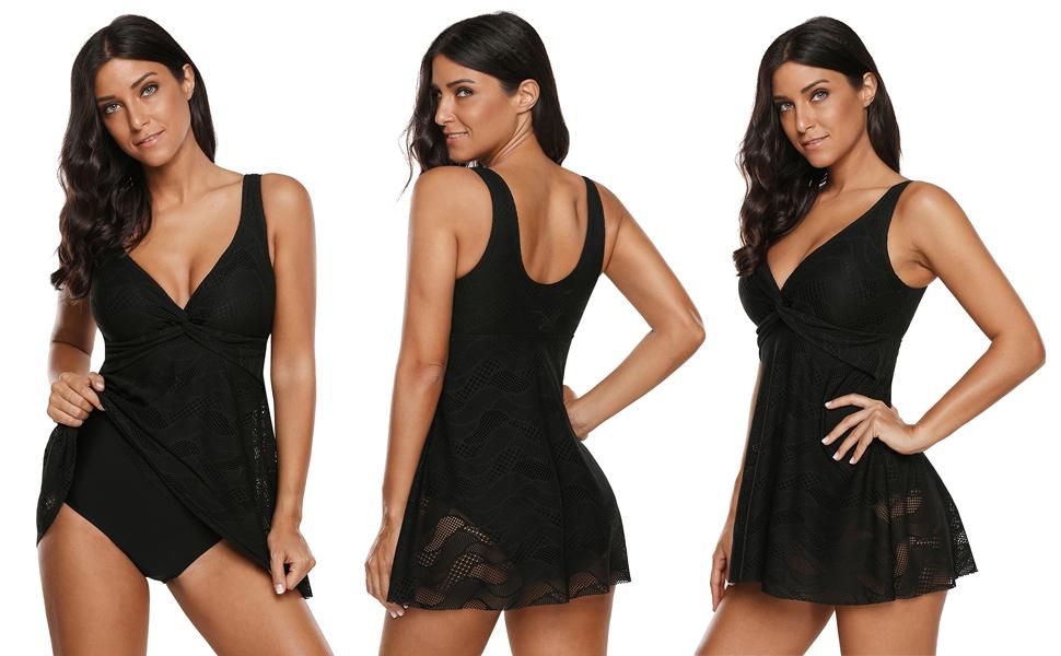 5855852f13 FUSENFENG Womens Lace Flare Skirt Tankini Swimdress Plus Size One Piece  Swimsuit