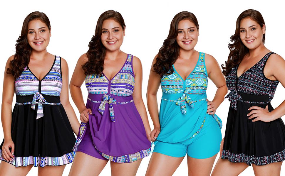 6be9c044e0 Features - Sexy V neck, Bow-tie, Splice Tribal Floral Print, Slim Fit,  Boyleg Bottom, Two Piece Tankini Set, Plus Size. Two Piece Tankini Swimsuit  ...
