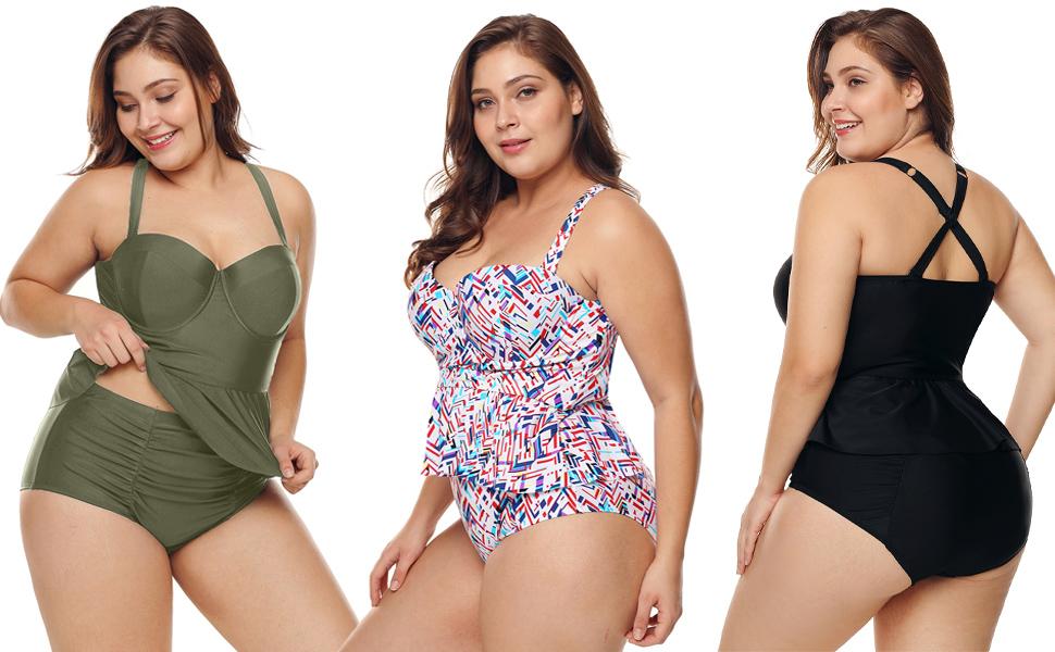 50b0e7f932b FUSENFENG Women s Plus Size Peplum Tankini Set Two Piece Bathing Suit  Swimwear Size Chart (Inch)