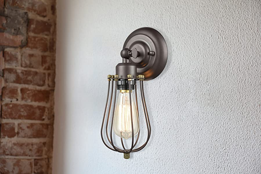 Industrial Wire Cage Wall Sconces
