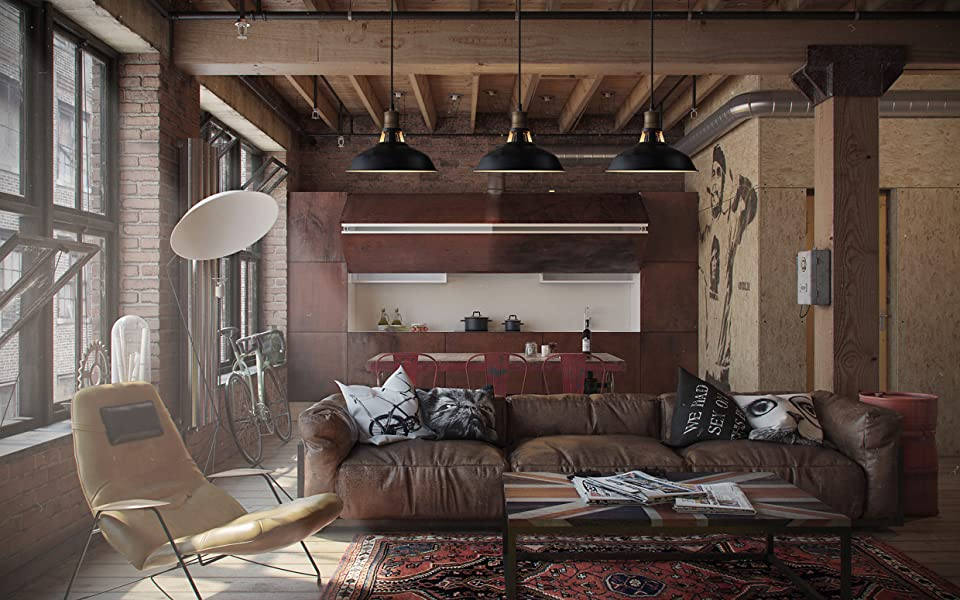 industrial design homes. Perfect blend of modern and industrial design  looks attractive fashion in all style rooms The black barn shade brings an old time spirit free CLAXY Ecopower Industrial Barn Mini Metal Pendant Light 1
