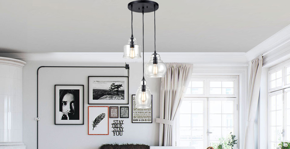 Claxy ecopower vintage kitchen linear island glass chandelier this multi jar pendant chandelier is a perfect blend of industrial and modern design the chandelier showcases 3 adjustable height pendants with different mozeypictures Images