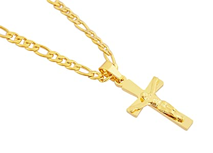 c378c8d0e33f0 EDFORCE Stainless Steel Womens Mens 20 inch Figaro Link Chain Cross  Necklace and Matching Bracelet, 20