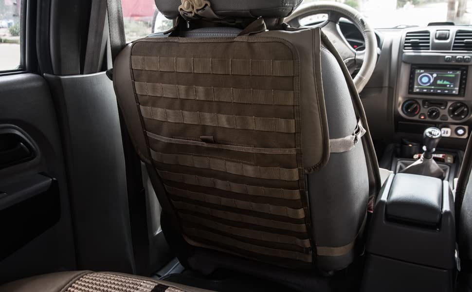 Nylon Tigris Car Backseat Cover Organizer Molle Vehicle Panel Durable Seat Cover