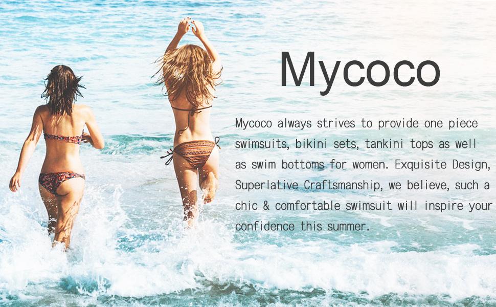 d26d2e0e6e0 Mycoco Women's Halter Bikini Top Push Up Ruched Swim Top Triangle Bikini  Swimwear