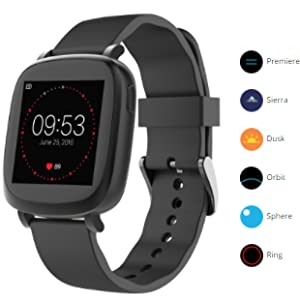 3Plus Vibe Activity Tracker Smart Watch with Heart Rate Monitor, Calorie Counter, Pedometer for Android & iOS in Black