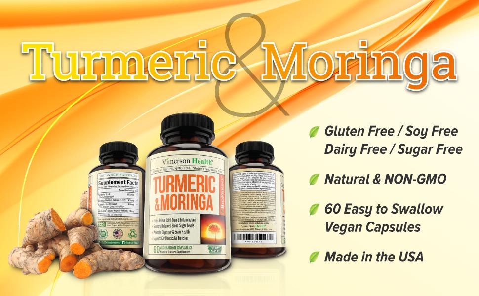 Turmeric and Moringa natural dietary supplement, 60 caps