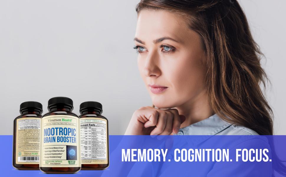 Nootropic Brain Booster Woman Focus Memory Vimerson Health