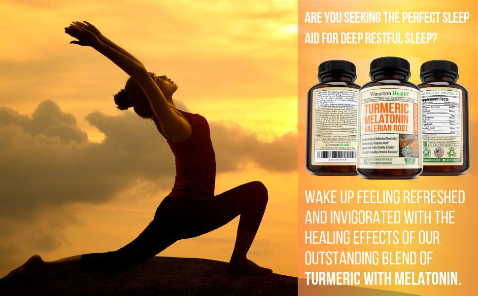 Turmeric Melatonin Valerian Root Ginger Vimerson Health Supplement Woman Yoga