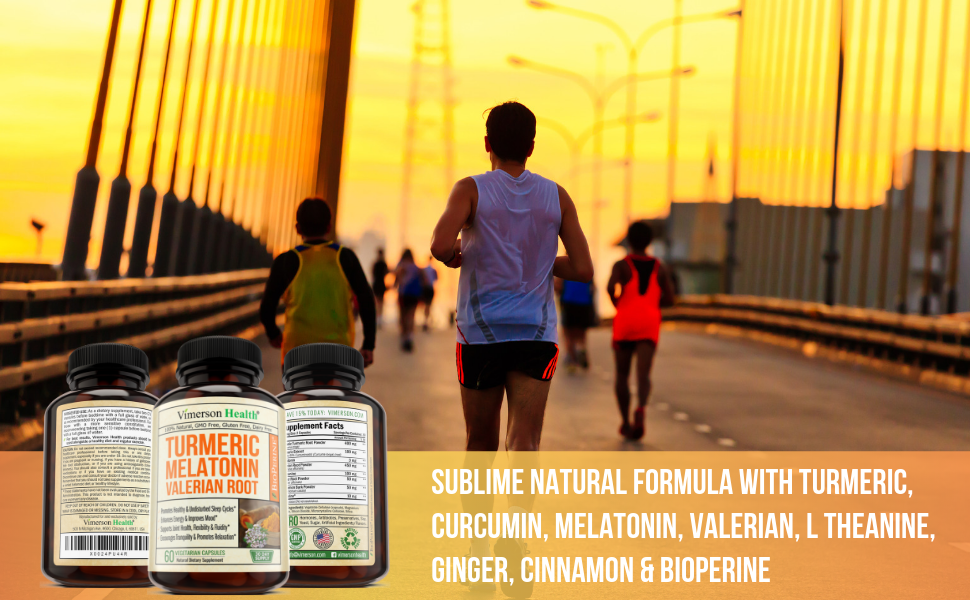 Turmeric Melatonin Valerian Root Ginger Vimerson Health Supplement Woman Man Jogging