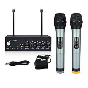 archeer bluetooth wireless microphone system for karaoke machine with 1 4 mic jack. Black Bedroom Furniture Sets. Home Design Ideas