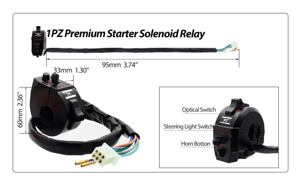 Horn for Motorcycle Dirt Bike Honda KTM Suzuki Kawasaki Yamaha Flasher Relay 1PZ SR1-H01 Universal Light Turn Signal Switch