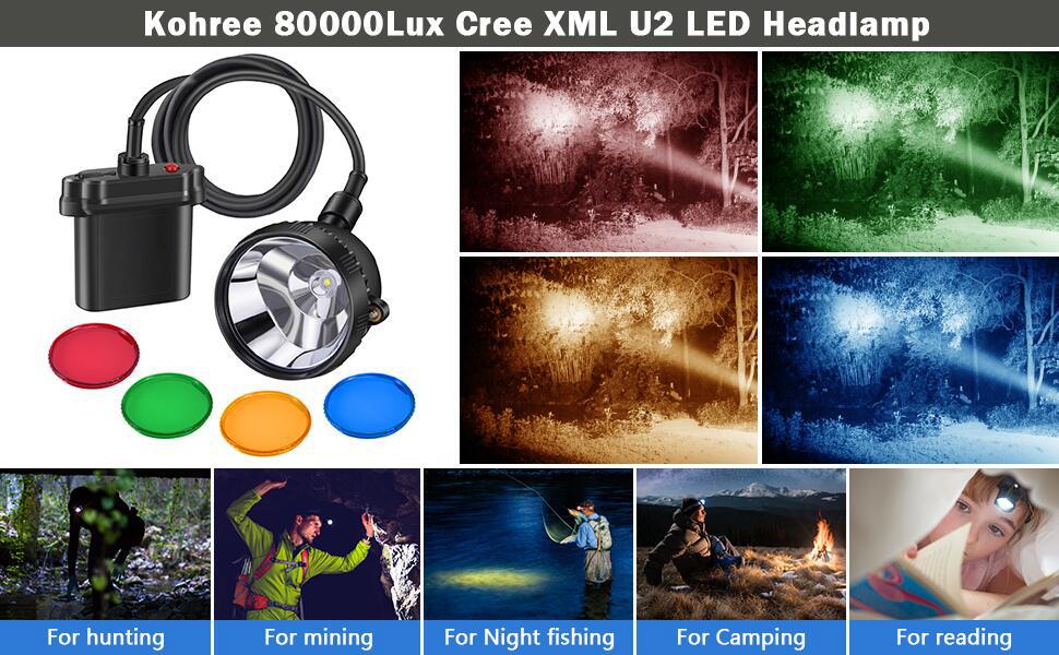 Kohree 80000Lux Cree 10W Xml U2 Led Hunting Explosion Proof Mining Camping Light