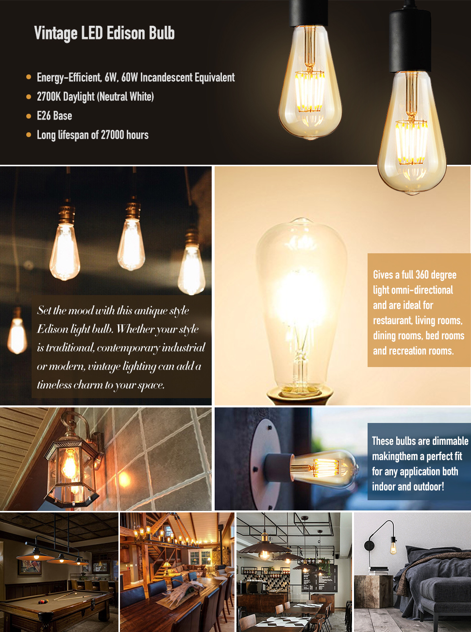 Dimmable Edison LED Bulb, Soft Warm White 2700K, Kohree 6W Vintage ...