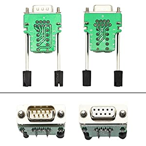SinLoon DB9 Connector Adapter RS232 Serial Port D-SUB Adapter Plate Breakout Board Solder-Free 1-Pair Male+Female with Screwdriver ,Black Rubber Core,Long Bolts