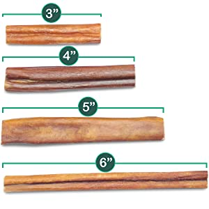 sizes bully sticks for dogs