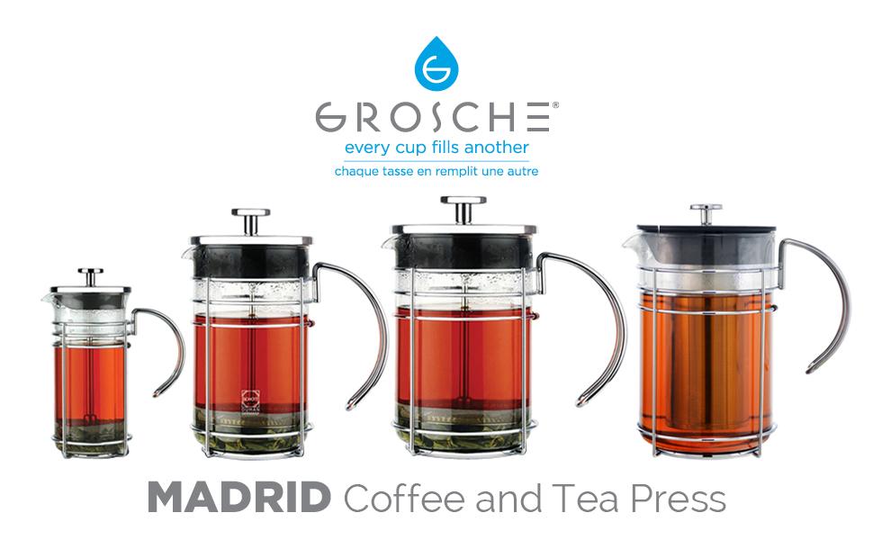 grosche madrid french press coffee maker tea press coffee press 8 cup 34 oz 1l. Black Bedroom Furniture Sets. Home Design Ideas