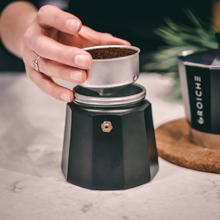 GROSCHE how to brew stovetop espresso Milano moka pot black step three