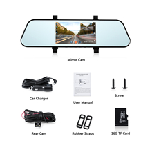 16G TF Card Include Mirror Dash Cam WONYERED 1080P Car Camera with 5 Inch Touch Screen 170/° Wide Angle Motion Detection G-Sensor Parking Monitoring Night Vision