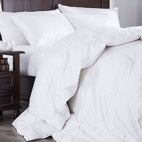 goose down comforter 400 thread count 600 fill power eygptian cotton king size white