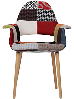 2xhome Upholstered Mid Century Modern Dining Arm Chair With Natural Wood Legs Patchwork S 1 Piece Chairs