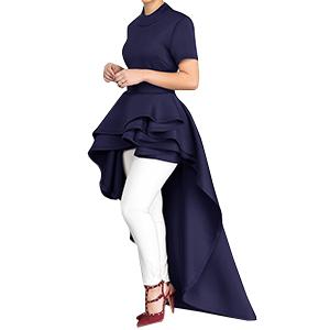 8433a245cb Chellysun Women Ruffle Short Sleeve Top Dress High Low Peplum ...