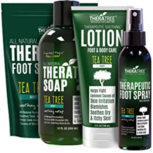 TheraTree Exfoliating Scrub with Tea Tree Oil and Bamboo Charcoal for Foot Care