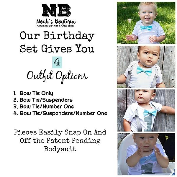 4abad5a66479 Amazon.com  Noah s Boytique Baby Boys 1st Birthday Bodysuit with Bow ...