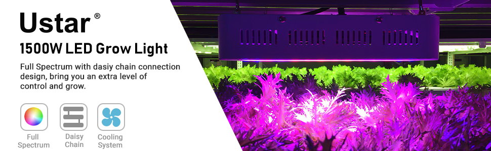 150 LEDs - White Indoor Plants Lights for Greenhouse and Indoor Plants Veg and Flower Ustar 1500W LED Grow Light Full Spectrum Growing Lamp Incluedes a Hygrometer ON//Off Switch and Dasiy Chain