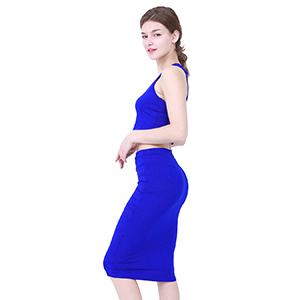 sexy club wear solid color ,sleeveless,bodycon plus size crop top and skirt