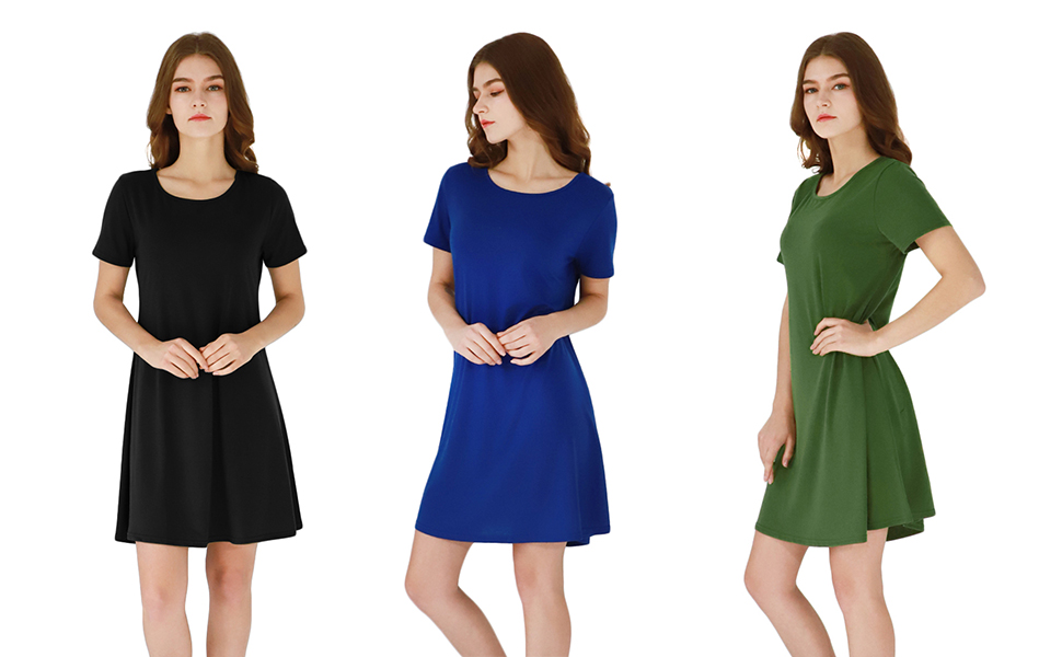 YMING Womens Casual T-Shirt Mini Short Sleeve Solid Color Simple Dress Plus Size