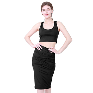 bodycon midi dress crop top and skirt dress set