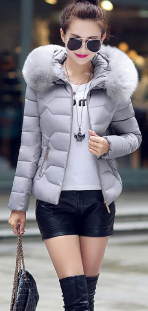 YMING Women's Short Down Coat Cotton Parka Faux Fur Collar Hooded ...