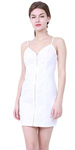 sleeveless mini zipper front dress