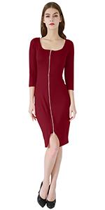 3/4 sleeve dress midi dress