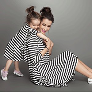 white and black stripe long maxi dress,parent and daughter dress