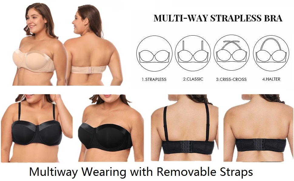 really cheap high quality size 7 Big Size Strapless Bra 32-46 B/C/D/DD/F/G Half Cup Multiway Bra with Straps  JM916