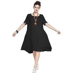 242866d1c1f Anysize Fresh Spring Summer Linen Cotton Dress Plus Size Clothing ...
