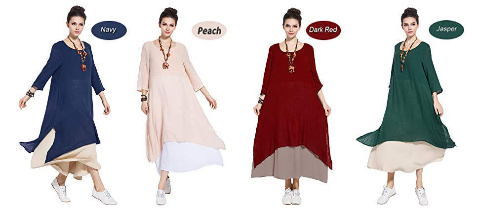 962008dea336 Anysize Spring Summer Fake Two Piece Linen&Cotton Dress Plus Size Dress