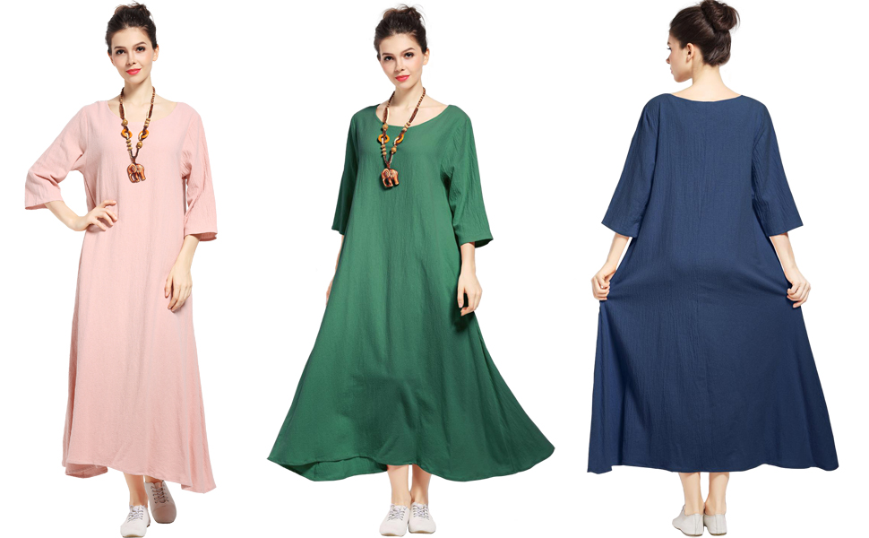 6f21f6e42e Anysize Three Quarter Sleeve Linen Cotton Spring Summer Plus Size Dress.